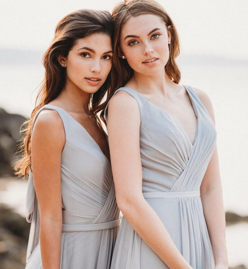 Models wearing bridesmaids dresses